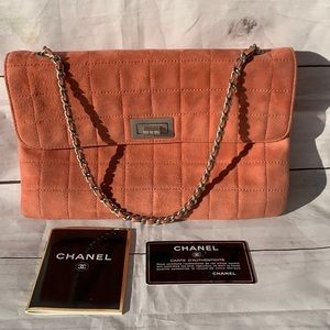 CHANEL Quilted Suede Mademoiselle Double Flap